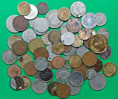 Lot of 57 Mixed Islamic Arab Coins Culls Junk Damaged North Africa Middle East