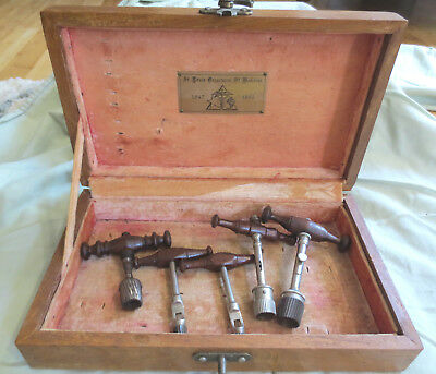 5 Antique Civil War Era Trephine Skull Drills in Wood Case Trepanning