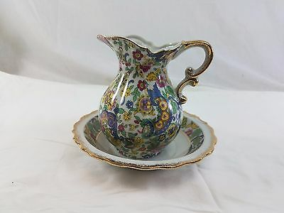 Lefton Japan Colorful Floral Pitcher and Bowl with Gold accent Trim