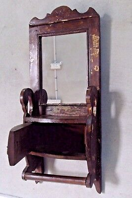 Old Indian Wooden Tribal Hand Crafted Dressing Mirror Frame With Drawer #18