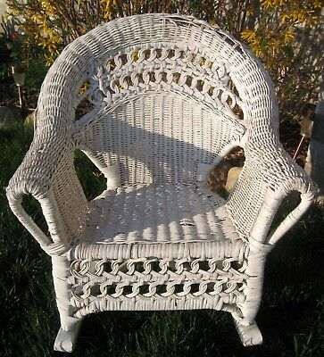 Vintage White Wicker Children's Rocker Rocking Chair primitive old farm estate