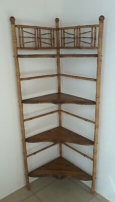 Antique Faux Bamboo Corner Etagere Old Painted Design