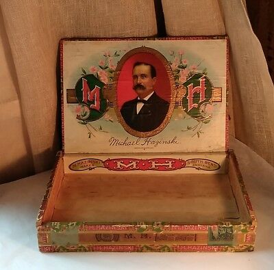 Vintage Wooden Cigar Box Clear Havana M. Hazinski, Maker South Bend, Indiana