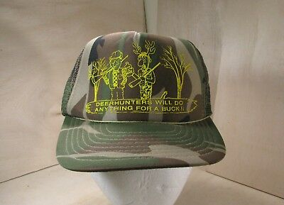 f8cceac20cd Vintage Deer-Hunters Will Do Anything For A Buck Mesh Snapback Trucker Camo  Hat