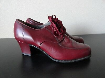 """VINTAGE 1940'S WORKDAY SHOES WOMENS 6B MAROON LEATHER LACE UP 2"""" HEELS Nice"""