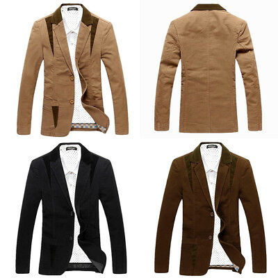 Men's Casual Blazer Cotton Lightweight Notched Lapel Two Button Blazer Jacket