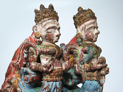 Stunning Pair Carved and Painted DIstressed Hindu Winged Architectural  Corbels