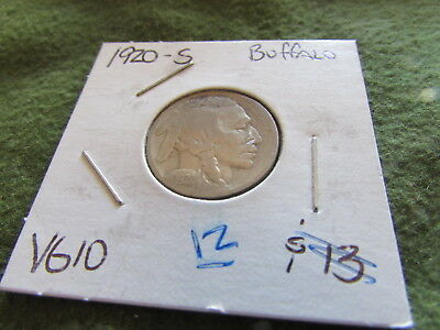1920 S Buffalo Nickel Indian Head San Francisco Mint 5 Cent Bison Coin