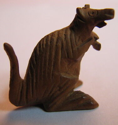 "Vintage Hand Carved Miniature1"" Wood Kangaroo"