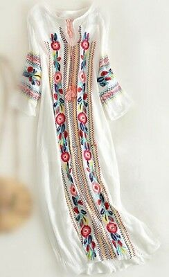vintage Cotton linen ethnic embroidery Mexican boho maxi tunic festival dress