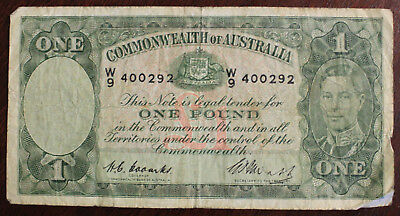 1949 ONE POUND £1(R31) COMMONWEALTH of AUSTRALIA COOMBS/WATT BANK NOTE W9 400292