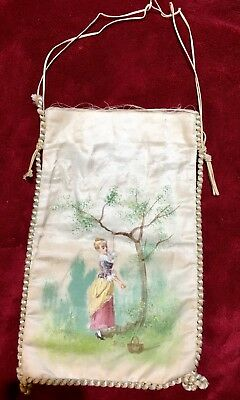 Handmade Hand Painted French Purse Vintage France Silk