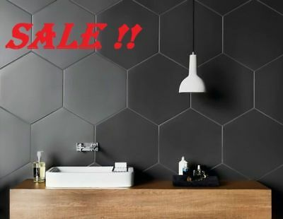 Tiles Hexagon Matte Black Wall/Floor Slick Design 200x230 - A Grade Wall Tiles