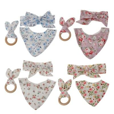3Pcs/Set Baby Rabbit Ears Teether Cotton Bibs Headband Infant Saliva Towel Care