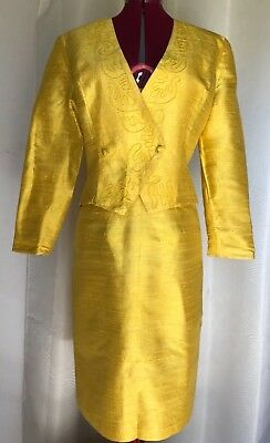 Vintage 1980's Yellow Silk Skirt Suit size 12