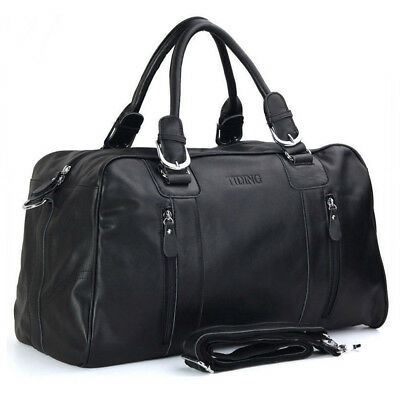 "18"" Unisex Nappa Leather Travel Luggage Duffle Gym Shoulder Bags Case Suitcases"