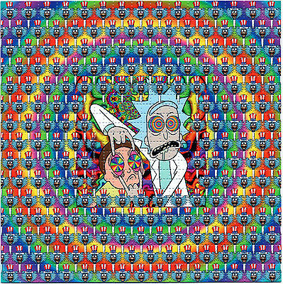 Signed by Zane Kesey Rick and Morty Tripping BLOTTER ART LSD tabs Acid Free Art