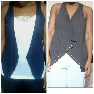 CLEARANCE ladies womens authentic M&S navy blue and grey mix waistcoat top