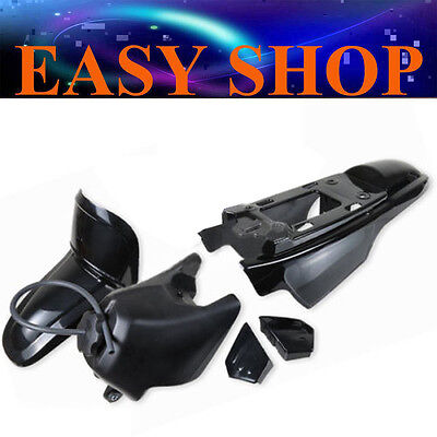 BLACK Plastic Fender Kit Body Cover Fairing + Petrol Fuel Tank Yamaha PW50 PY50