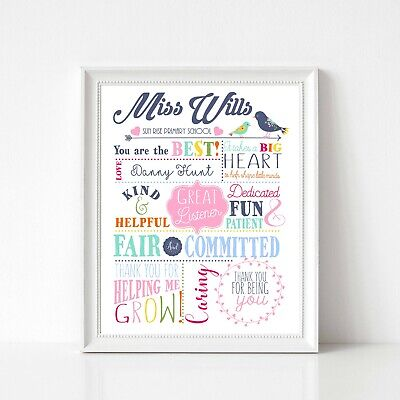 PERSONALISED TEACHER PRINT Best Teacher Thank You Gift Present Leaving  School