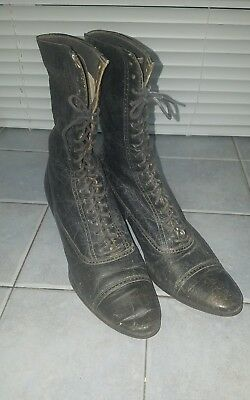 ANTIQUE VICTORIAN Vintage WOMENS LEATHER HIGH TOP LACE BOOTS SHOES