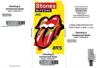 2 x Rolling Stones 'No Filter' Tickets - Tues 22 May 18 London-Email delivery
