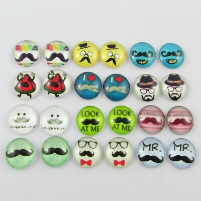 Glass Dome Moustache Cabochon 12mm Select 10 or 20 pieces in random pairs