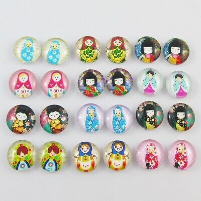 Glass Dome Dolls Cabochon 12mm Select 10 or 20 pieces in random pairs