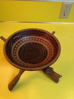 South American Hand Made Hand Painted  Wooden Bowl Wood with hand carved stand.