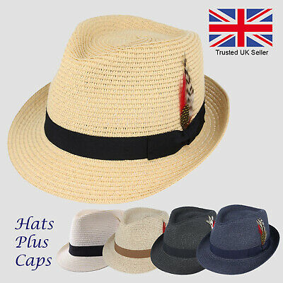 6712fe28bc38c Straw Trilby Summer Sun Hat Beach Holiday Paper Fedora Crushable Style  Panama