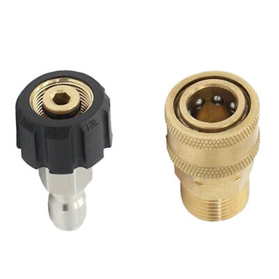 Pair of Pressure Washer Quick Release M22/14 to 1/4 Plug Brass Connector