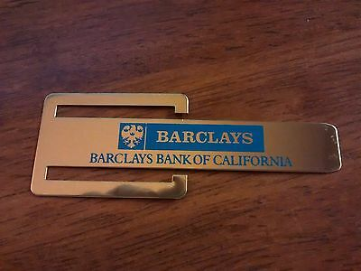 RARE 1960's Vintage Barclays Bank of California Clip Bookmark NWOT Never Used