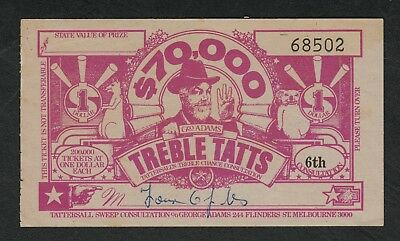e1925)   1960's OBSOLETE TATTERSALL'S  TREBLE TATTS LOTTERY TICKET FOR $70,000