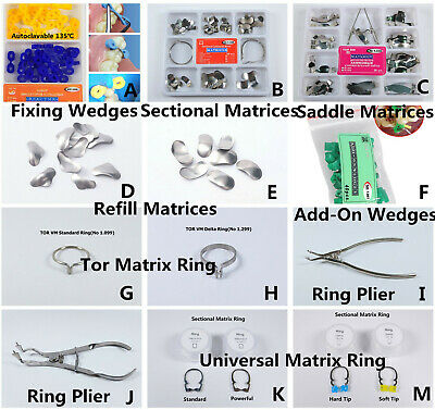 TOR VM Dental Matrix Bands Sectional Contoured Matrices Delta Ring Wedges Plier