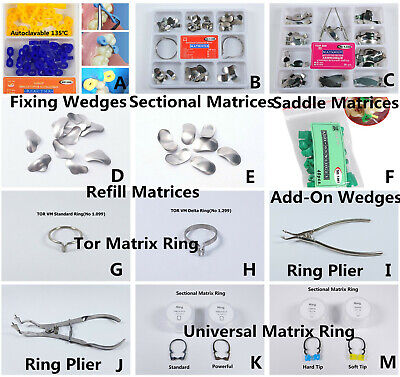 TOR VM Dental Wedges Sectional Contoured Matrices Delta Ring Matrix Bands Plier