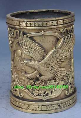 COLLECTIBLE CHINA BRASS HANDMADE CARVED EAGLE BRUSH POT e01