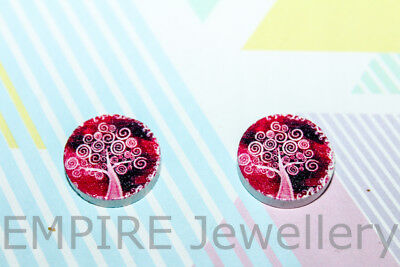 2 x White Swirly Tree on Pink Wooden Laser Cut Flatback 16x16mm Cabochon Life