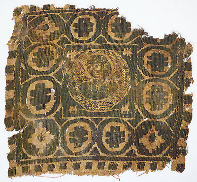 4-5C Ancient Coptic Textile Fragment - Person Pattern, Christian Arts