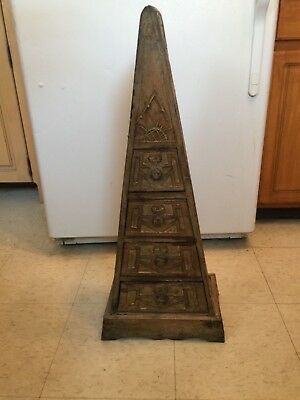 Mysterious Antique Aztec looking tower with four drawers