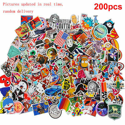 200 x random vinyl decal graffiti sticker bomb laptop waterproof stickers skate