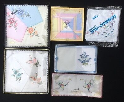 16x Vintage Ladies Handkerchiefs New Embroidered Floral Print Solid Boxed