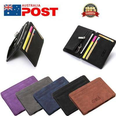 Mens Leather Ultra Slim Mini Credit Id Card Note Case Wallet Money Holder Black