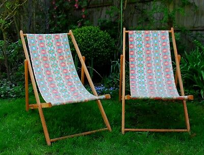 pair of vintage retro wooden folding deckchairs beach chairs 1950 s