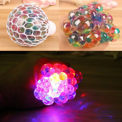 Mesh Squishy Ball LED Squeeze Grape Multi-Color Glowing Ball Stress Relief Toys