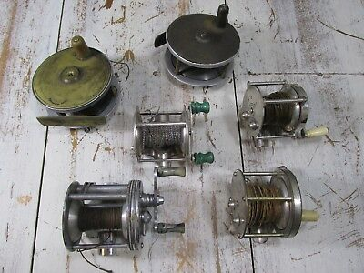6 Antique, Vintage Fly And Fishing Reels, English, USA All Working Condition