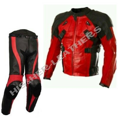 NEW DEADPOOL-Motorbike/Motorcycle Cowhide Leather Jacket,Pant-SUIT Racing Biker