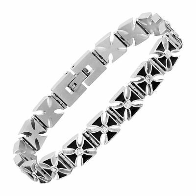 Rock and Redemption Men's Crystal Cross Bracelet in Stainless Steel