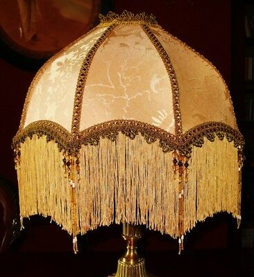 """Langtry A Victorian Beaded Lampshade. Creamy Gold Silk Damask 16"""""""
