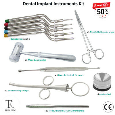 Dental Implant Surgical kit Osteotomes Sinus Lift Periosteal Elevator Graft Bone
