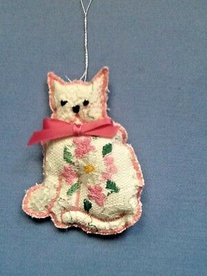 White and Pink Embroidered Cat Ornament